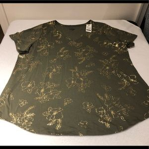 NWT Lane Bryant Green & Gold Floral Tee Size 18/20